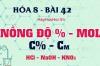 Cách tính nồng độ phần trăm, nồng độ mol của dung dịch - hóa 8 bài 42